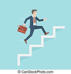 plat, stijl, success., zakenman, vector, koffer, het beklimmen van stairs, illustration.