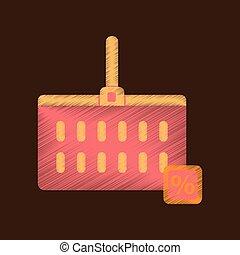 plat, stijl, supermarkt, mand, arcering, pictogram