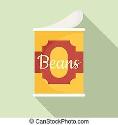 plat, stijl, tin, bonen, groenteblik, pictogram