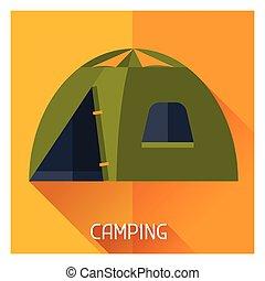 plat, stijl, toerist, kamperen, illustratie, creatief, tentje