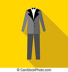 plat, stijl, trouwfeest, mens, kostuum, pictogram