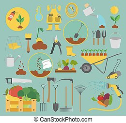 plat, stijl, tuinieren, set., ontwerp, werken, landbouw, pictogram