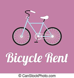 plat, stijl, vector, fiets, huren