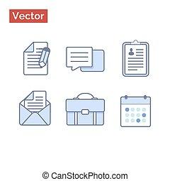 plat, stijl, vector, schets, iconen