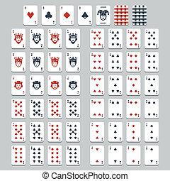 plat, stijl, vector, speelkaarten