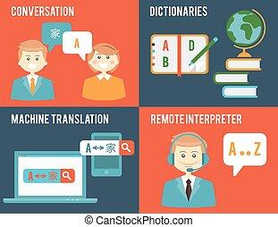 plat, stijl, vertaling, woordenboek, concepten