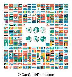 plat, stijl, verzameling, van, wereld, vlag
