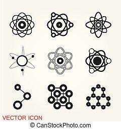 plat, stijl, vrijstaand, vector, achtergrond, atoom, modieus, pictogram