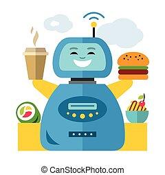 plat, stijl, waiter., illustration., kleurrijke, robot, vector, spotprent