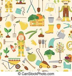 plat, stijl, werken, pattern., seamless, ontwerp, tuinieren, landbouw