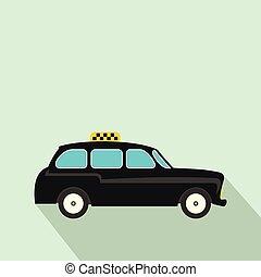 plat, stijl, zwarte taxi, pictogram, londen