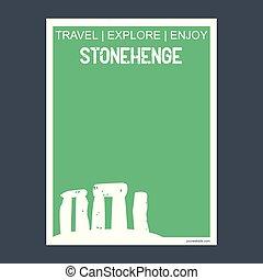 plat, stonehenge, angleterre, style, typographie, repère, vecteur, monument, brochure, wiltshire???