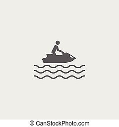 plat, straalvliegtuig, water, vector, black , icon., ski