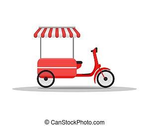 plat, straat, illustration., voedingsmiddelen, concept., voertuigen, vasten, delivery., vector, ontwerp, vrachtwagen, vrachtwagen, style., van.
