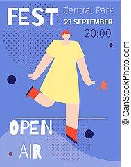 plat, straatfeest, poster, lucht, advertentie, muziek,...