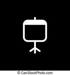 plat, style, écran projecteur, illustration, arrière-plan., vecteur, noir, icône