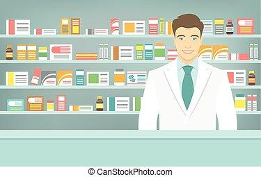 plat, style, étagères, médicaments, opposé, jeune, pharmacie, pharmacien