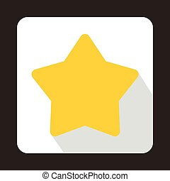 plat, style, étoile, jaune, icône