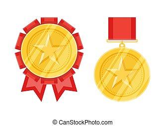 plat, style, étoile, médailles, or