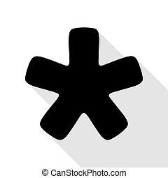 plat, style, étoile, signe., astérisque, noir, ombre, path., icône