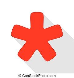 plat, style, étoile, signe., astérisque, ombre, path., rouges, icône