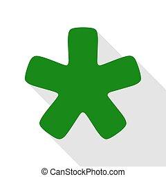 plat, style, étoile, signe., astérisque, vert, ombre, path., icône