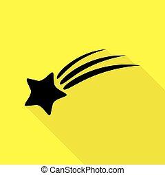plat, style, étoile, signe., jaune, arrière-plan., noir, sentier, ombre, tir, icône