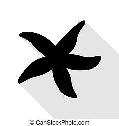 plat, style, étoile, signe., mer noire, ombre, path., icône