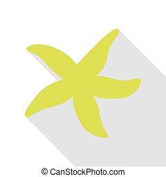 plat, style, étoile, signe., poire, ombre mer, path., icône