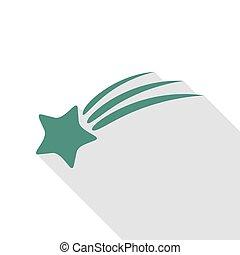 plat, style, étoile, signe., veridian, ombre, tir, path., icône