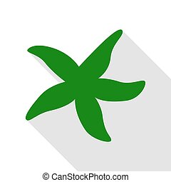 plat, style, étoile, signe., vert, ombre mer, path., icône