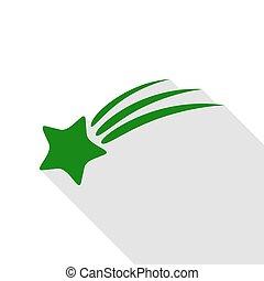 plat, style, étoile, signe., vert, ombre, tir, path., icône