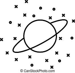 plat, style, étoiles, planète, uranus, devant