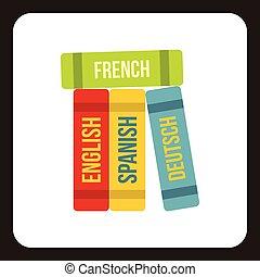 plat, style, étranger, langues, livres, icône