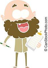 plat, style, agrafe, couleur heureuse, notes, fou, planche, homme, dessin animé, barbe