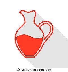 plat, style, amphore, signe., ombre, path., rouges, icône