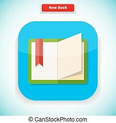 plat, style, app, livre, conception, nouveau, icône