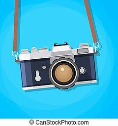 plat, style., appareil photo, retro