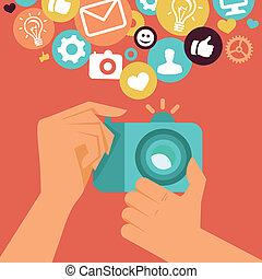 plat, style, appareil photo, vecteur, retro, numérique