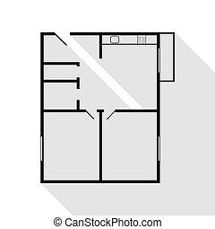 plat, style, appartement, plancher, plans., maison, noir, ombre, path., icône