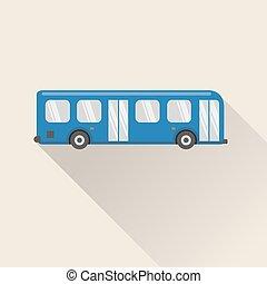 plat, style, autobus, icône