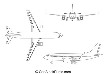 Ic ne style avion contour toile contour illustration dessins rechercher clipart - Dessin avion stylise ...