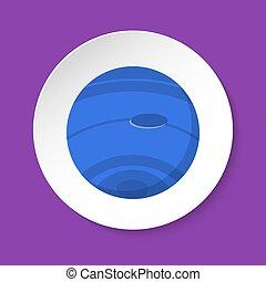plat, style, bouton, neptune, planète, rond, icône
