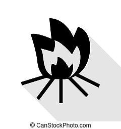 plat, style, brûler, signe., noir, ombre, path., icône