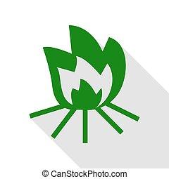 plat, style, brûler, signe., vert, ombre, path., icône