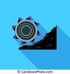 plat, style, bucket-wheel, illustration., excavateur, symbole, isolé, mine, arrière-plan., vecteur, blanc, icône, stockage
