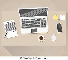 plat, style, bureau, conception, espace de travail