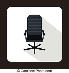plat, style, bureau, cuir, noir, icône, chaise