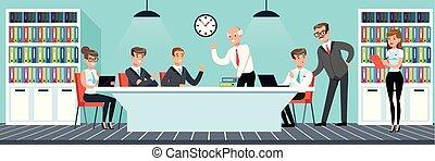 plat, style, bureau fonctionnant, gens, affaires illustration, vecteur, réunion