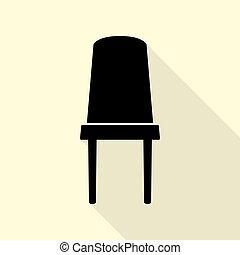 plat, style, bureau, signe., arrière-plan., noir, sentier, chaise, icône, ombre, crème